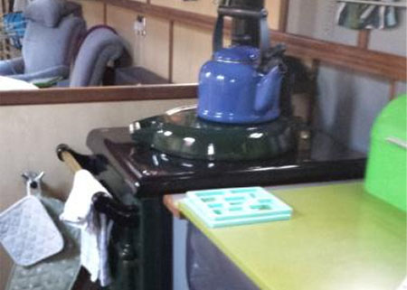 stove and kettle on board a narrowboat