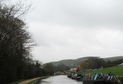 moored boats on the Leeds & Liverpool Canal
