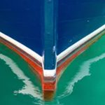 bow of painted narrowboat