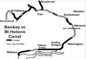 diagrammatic map of the Sankey Canal (St Helen's Canal)