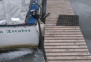Dawn Treader moored on pontoon