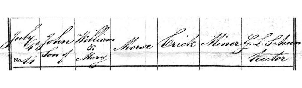 registration of John Morse, son of William & Mary Morse