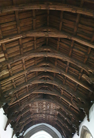Vaulted ceiling in St Collen's Church, Llangollen