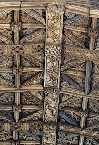 intricate roof carvings in St Collen's Church, Llangollen