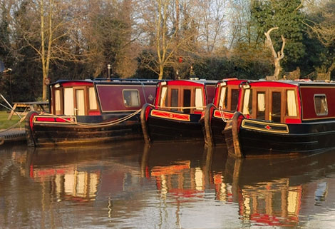 narrowboats brightly painted