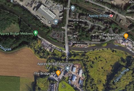 Appley Bridge area, Google Maps