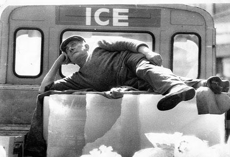Gino Bergonzi delivering ice for Carlo Gatti's Haggerston factory, 1980, Dom Bergonzi