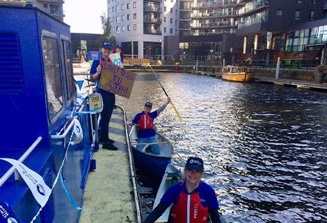 crt staff welcome steph mcgovern to Leeds Dock
