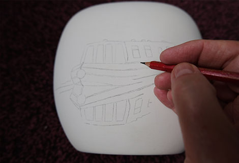 stoke art potteries - hand drawing on vase