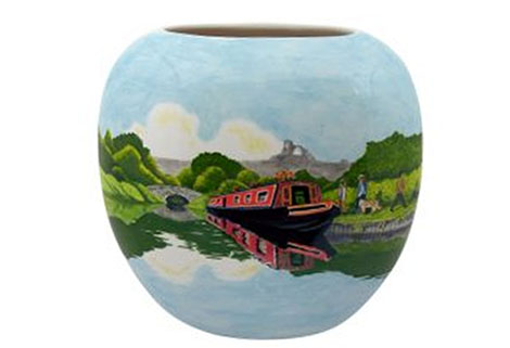 hand painted vase by tony Cartlidge