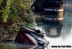 sunken boat at Bath by Paul Gillis
